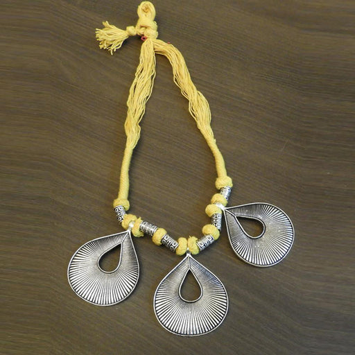 Jeweljunk Silver Plated Yellow Thread Tribal Necklace
