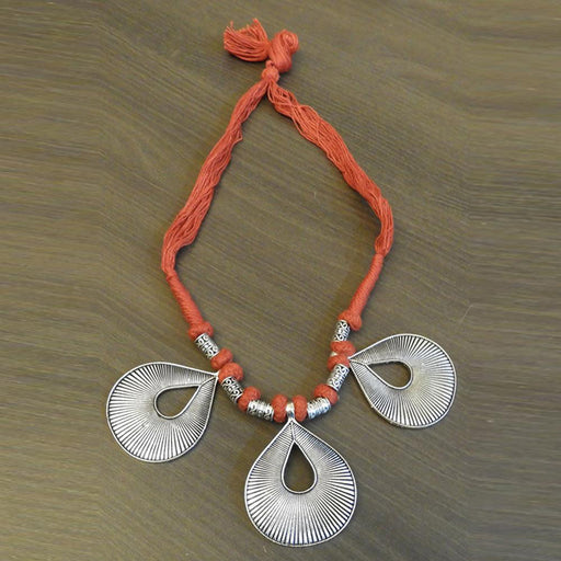 Jeweljunk Orange Thread Silver Plated Tribal Necklace