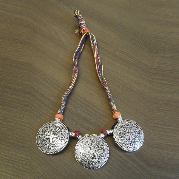 Jeweljunk Multicolour Thread Silver Plated Tribal Necklace