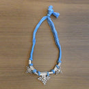 Jeweljunk Blue Thread Silver Plated Tribal Necklace