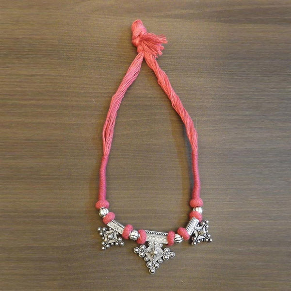 Jeweljunk Silver Plated Pink Thread Tribal Necklace