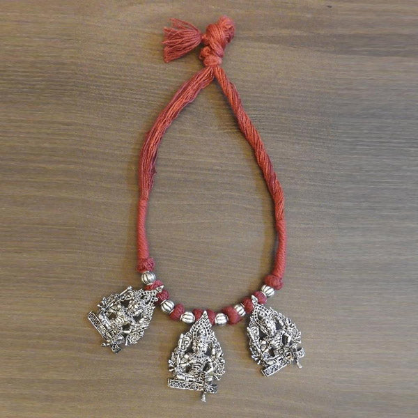 Jeweljunk Silver Plated Red Thread Temple Necklace