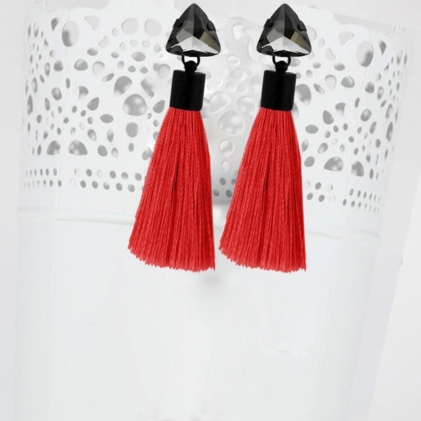 Jeweljunk Oxidised Plated Glass Stone Red Thread Tassel Earrings