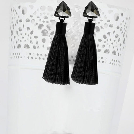 Jeweljunk Oxidised Plated Glass Stone Thread Tassel Earrings