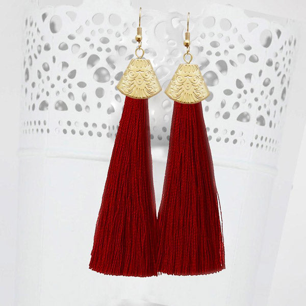 Jeweljunk Gold Plated Maroon Thread Tassel Earrings