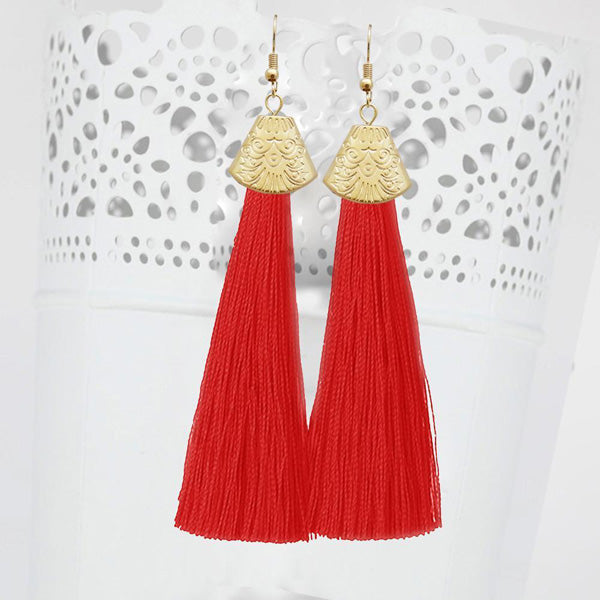 Jeweljunk Gold Plated Red Thread Tassel Earrings