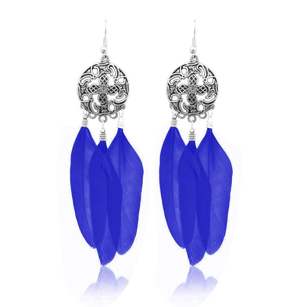 Jeweljunk Rhodium Plated Blue Feather Earrings