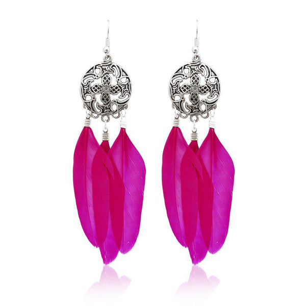 Jeweljunk Rhodium Plated Pink Feather Earrings