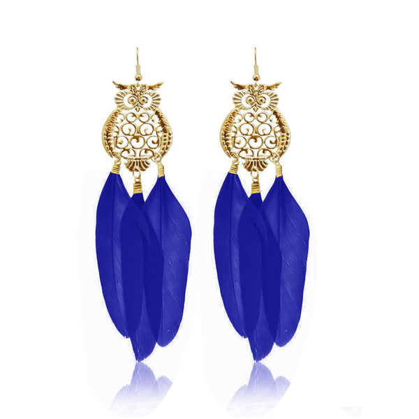 Jeweljunk Gold Plated Blue Owl Feather Earrings