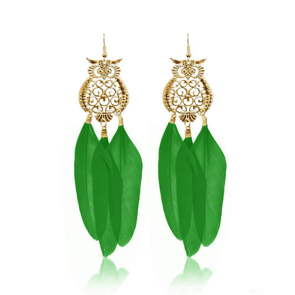 Jeweljunk Gold Plated Green Owl Feather Earrings