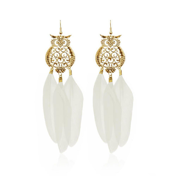 Jeweljunk Gold Plated White Owl Feather Earrings