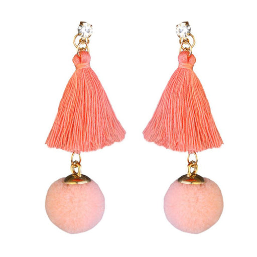 Jeweljunk Gold Plated Peach Thread Earrings