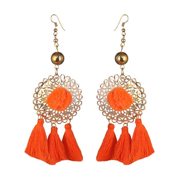 Jeweljunk Gold Plated Orange Thread Earrings
