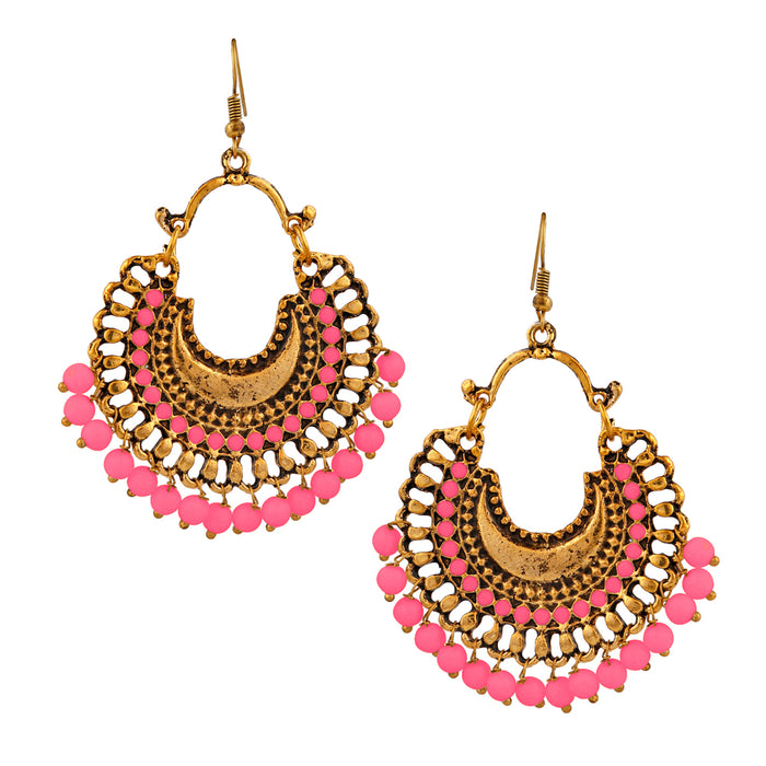Jeweljunk Gold Plated Pink Beads Afghani Dangler Earrings