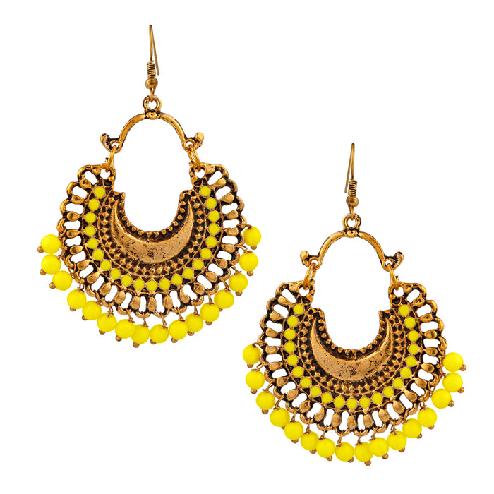 Jeweljunk Gold Plated Yellow Beads Afghani Dangler Earrings