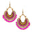 Jeweljunk Gold Plated Purple Beads Afghani Dangler Earrings