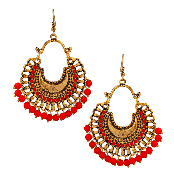 Jeweljunk Gold Plated Red Beads Afghani Dangler Earrings