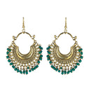 Jeweljunk Gold Plated Green Beads Afghani Dangler Earrings