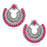 Jeweljunk Silver Plated Pink Beads Chandbali Earrings