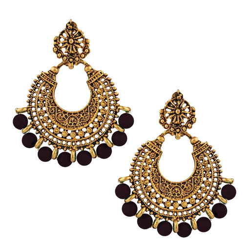 Jeweljunk Gold Plated Brown Beads Dangler Earrings
