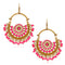 Jeweljunk Gold Plated Pink Beads Afghani Earrings