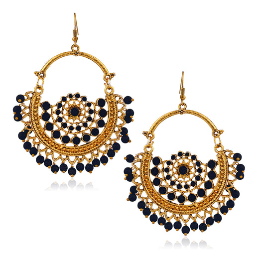 Jeweljunk Gold Plated Blue Beads Afghani Earrings