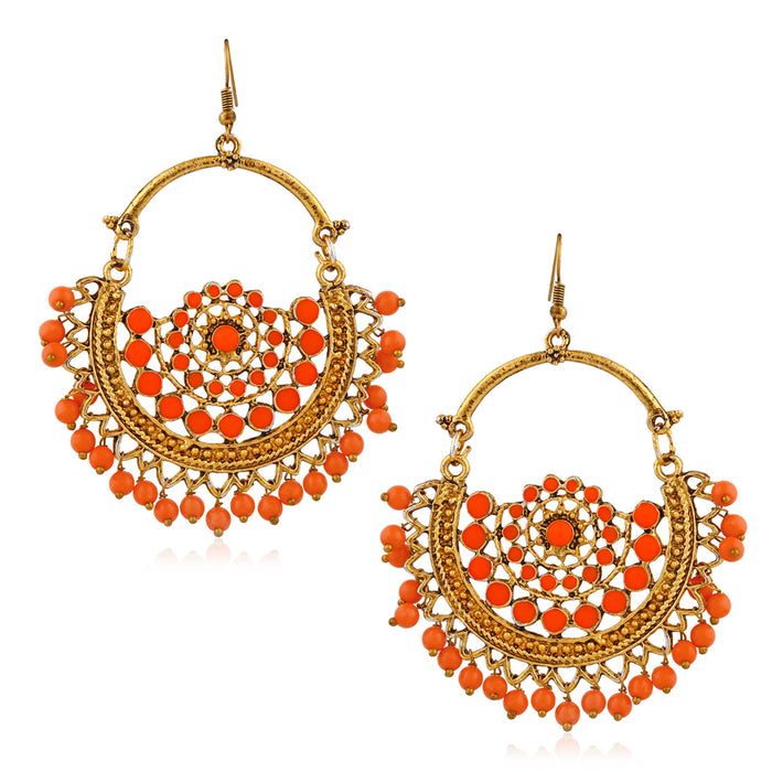 Jeweljunk Gold Plated Orange Beads Afghani Earrings