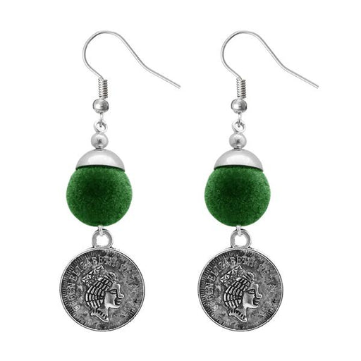 Jeweljunk Green Thread Silver Plated Dangler Earrings