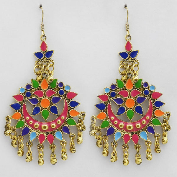 Jeweljunk Multi Meenakari Gold Plated Afghani Earrings