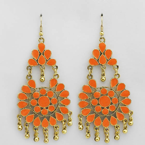 Jeweljunk Gold Plated Orange Meenakari Afghani Earrings