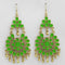 Jeweljunk Gold Plated Green Meenakari Afghani Earrings