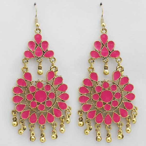 Jeweljunk Gold Plated Pink Meenakari Afghani Earrings