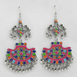 Jeweljunk Multi Meenakari Rhodium Plated Afghani Earrings
