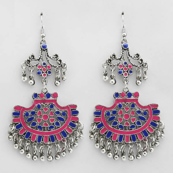 Jeweljunk Pink & Blue Silver Plated Meenakari Afghani Earrings