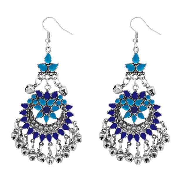 Jeweljunk Blue Meenakari Silver Plated Afghani Earrings