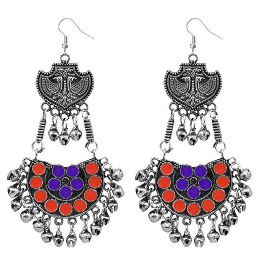 Jeweljunk Purple & Red Meenakari Afghani Earrings