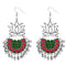 Jeweljunk Green & Red Meenakari Afghani Earrings