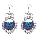 Jeweljunk Rhodium Plated Blue Meenakari Afghani Earrings