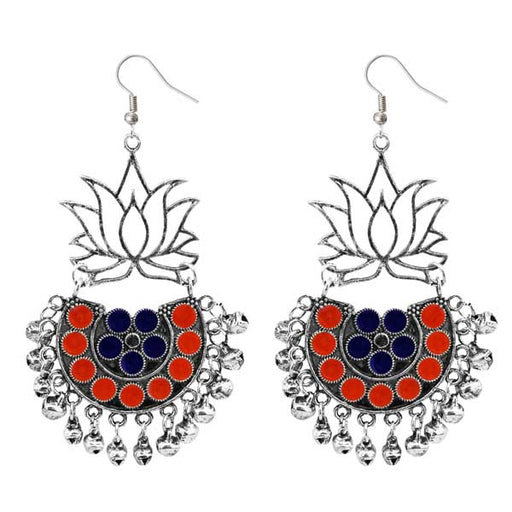 Jeweljunk Silver Plated Orange & Blue Meenakari Afghani Earrings