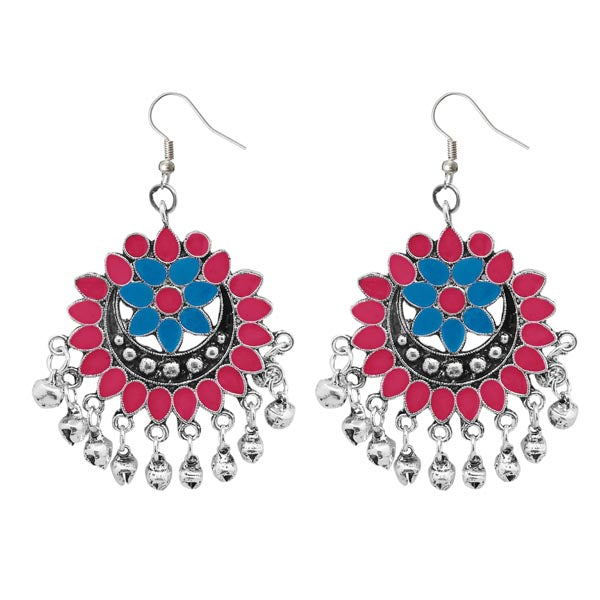 Jeweljunk Pink & Blue Meenakari Silver Plated Afghani Earrings