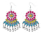 Jeweljunk Rhodium Plated Multi Meenakari Afghani Earrings