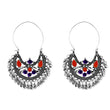 Jeweljunk Purple & Orange Meenakari Afghani Earrings