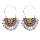 Jeweljunk Silver Plated Multi Meenakari Afghani Earrings