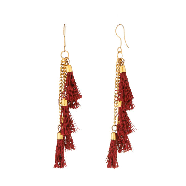Jeweljunk Brown Gold Plated Thread Earrings