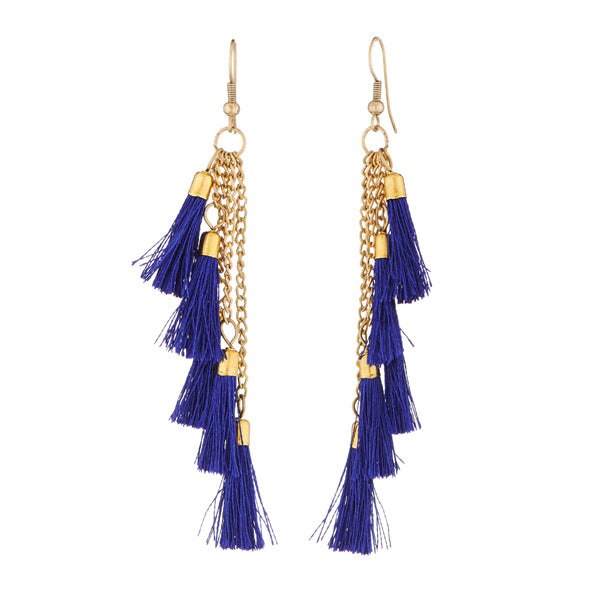 Jeweljunk Blue Thread Gold Plated Dangler Earrings