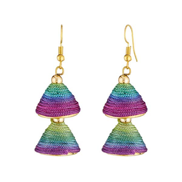 Jeweljunk Multicolor Thread Gold Plated Earrings
