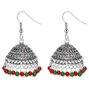 Jeweljunk Maroon Beads Rhodium Plated Jhumki Earrings