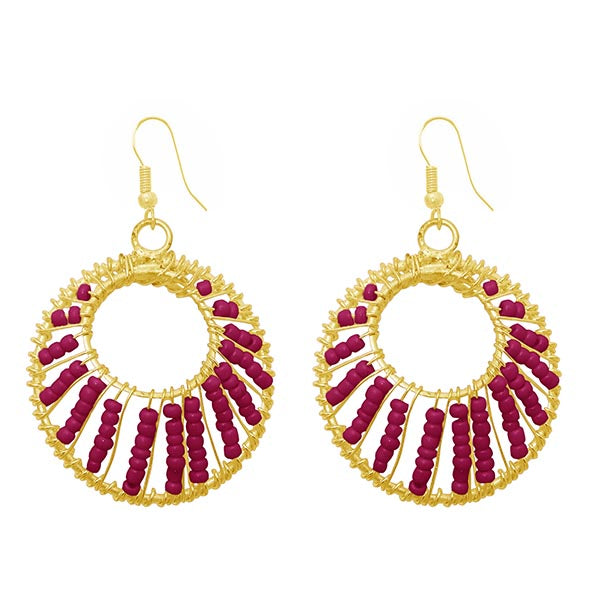 Jeweljunk Gold Plated Purple Beads Dangler Earrings