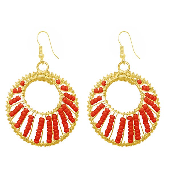 Jeweljunk Red Beads Gold Plated Dangler Earrings