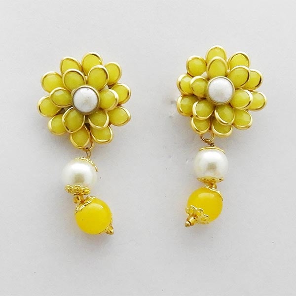 Kriaa Yellow Floral Gold Plated Dangler Earrings